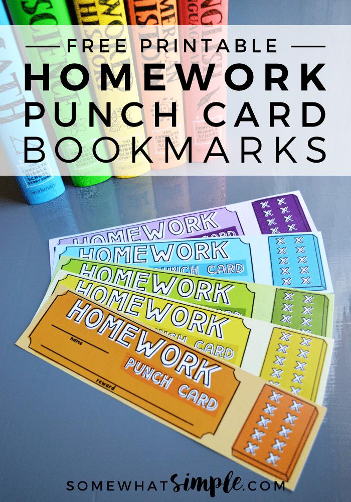 Homework Punch Card Bookmarks - Free Printables