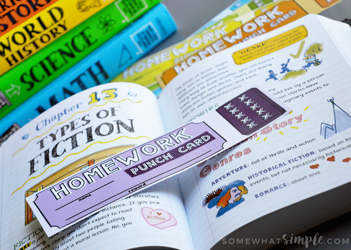 Homework punch card bookmarks