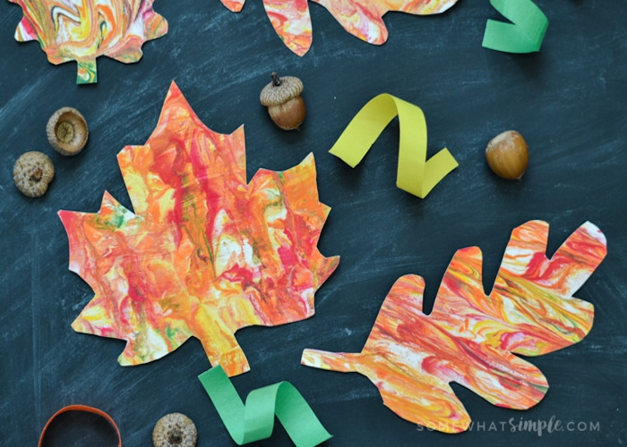 Marbled Paper Fall Leaves-4