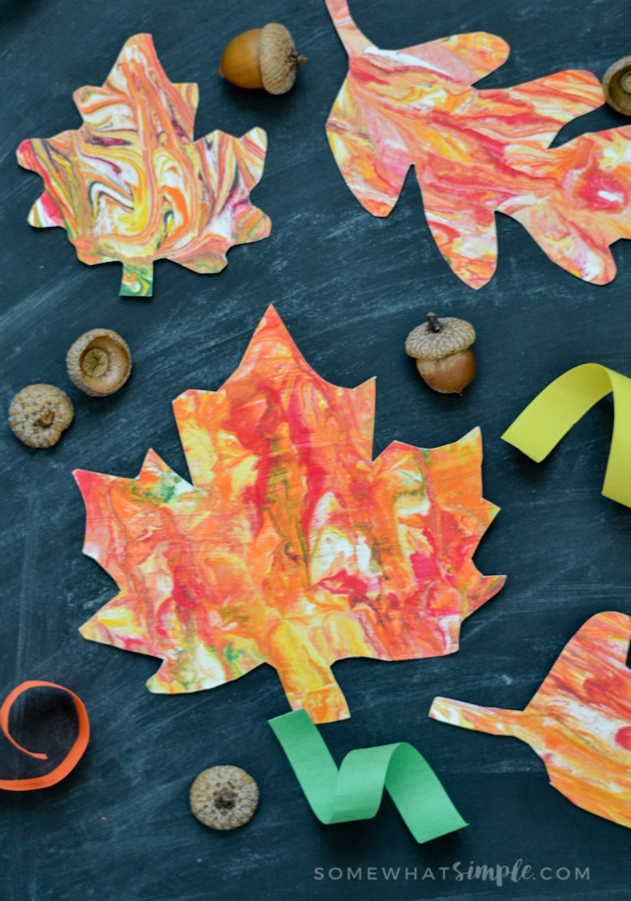 Marbled Paper Fall Leaves-5