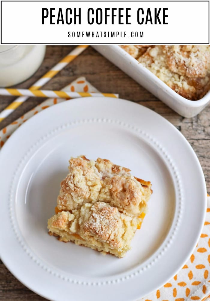 This peach streusel coffee cake is simple to throw together and tastes spectacular! It's perfect for breakfast, brunch, snacking, or dessert. #peachcoffeecake #peachcoffeecakerecipe #peachcoffeecakewithstreuseltopping #easypeachcoffeecakerecipe #breakfastpeachcoffeecake via @somewhatsimple