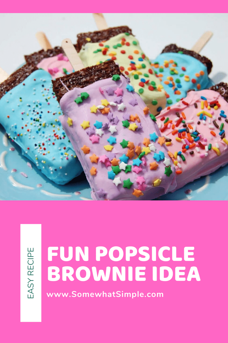 Popsicle brownies are a fun a delicious way to dress up a classic dessert that'll make them even more fun to eat!  Made using your favorite brownie recipe and few other simple ingredients, they'll be ready in no time! #browniepopsicles #kidsdessert #chocolatebrowniepopsicles #kidsdessertidea #funbrownierecipe via @somewhatsimple
