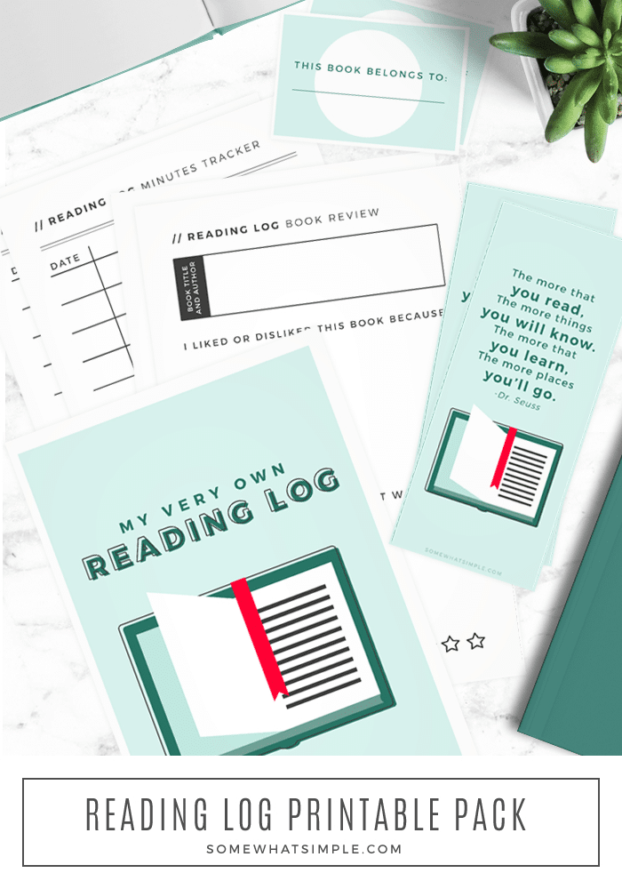 Encourage kids to read, both at home or in the classroom, with our printable reading log pack! #reading #homework #school #backtoschool #freeprintable via @somewhatsimple
