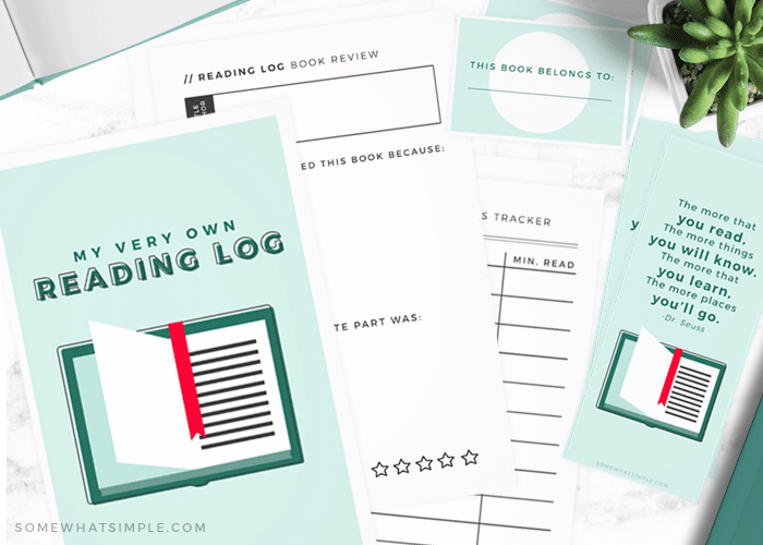 free reading log printable pack from somewhat simple