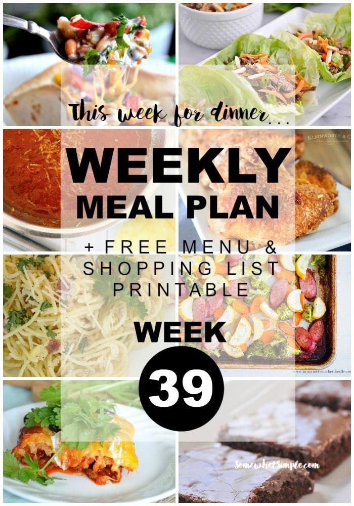 Weekly Menu Plan - Week 39