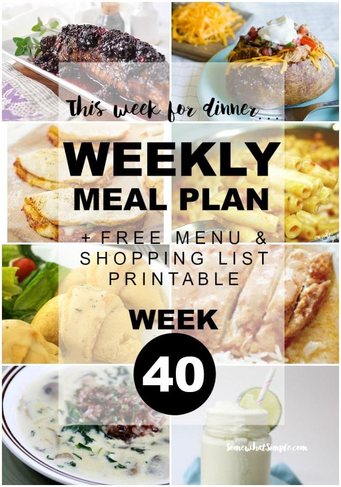 Weekly Menu Plan Week 40