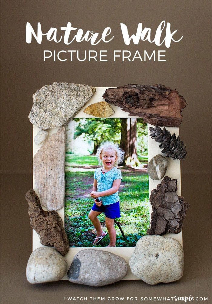 This nature walk picture frame is fun and simple to make, and it becomes a beautiful memory and piece of decor for your home! via @somewhatsimple