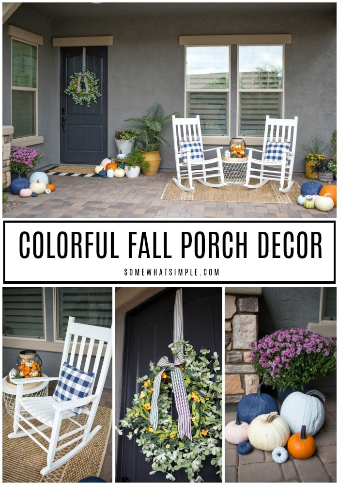 It's Time To Fill Our Courtyard With All Things Pumpkin And Break Out The Firewood For Evenings Of Bonfires And S'mores! Here Is Our Fun Fall Porch Decor Plus How We Updated Our Home To Better Secure It For The Holidays. #fallporch #pumpkinsonporch #colorfulpumpkin #pumpkindecor #homesecurity #securitycamera via @somewhatsimple