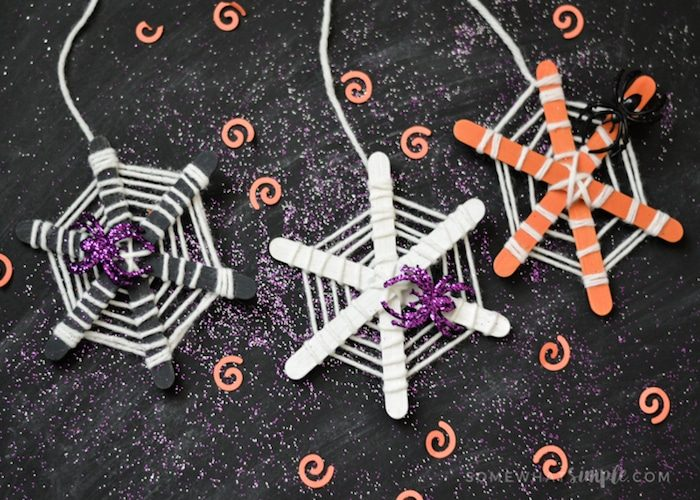craft stick spiderwebs