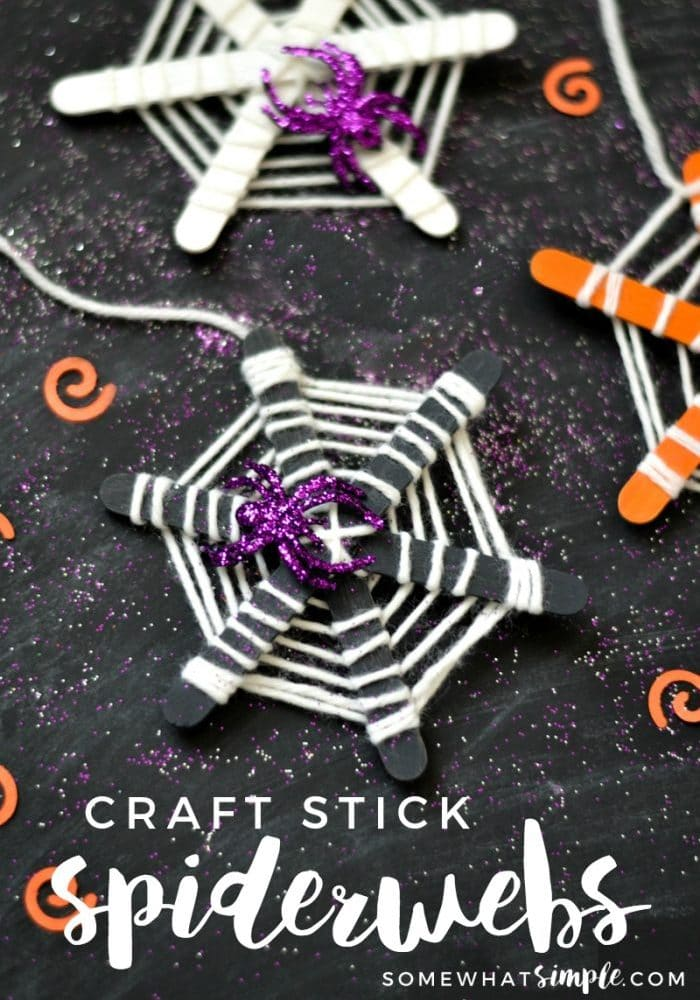 craft stick spiderwebs Halloween craft project for kids