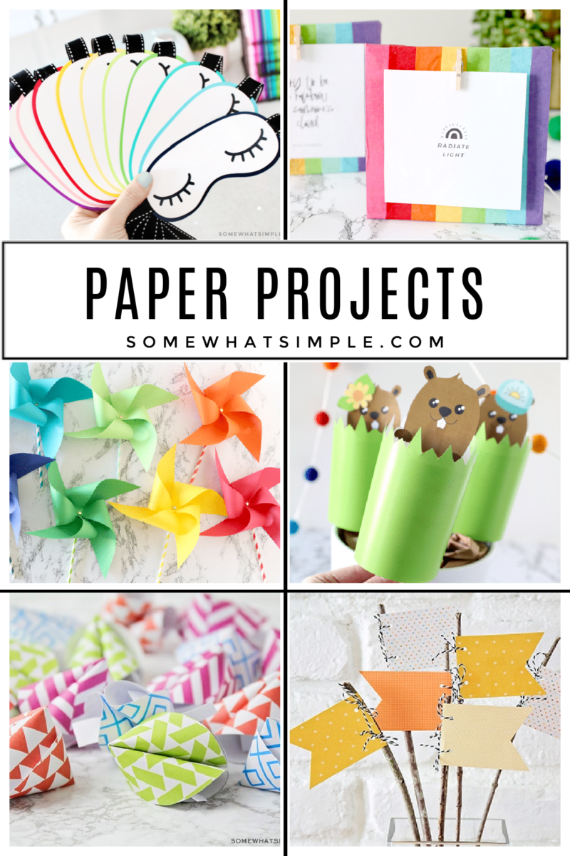 collage of creative projects made with paper