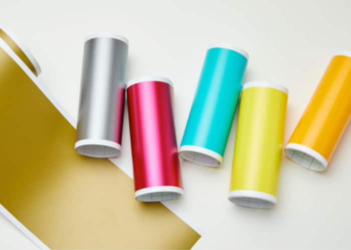 rolls of brightly colored vinyl