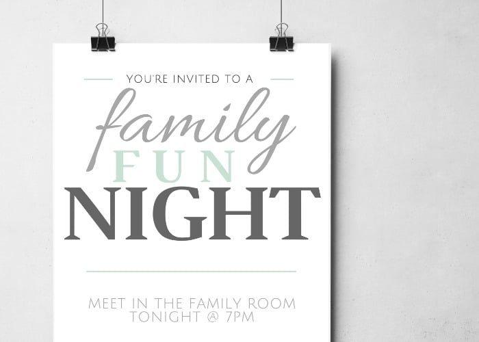 Family Game Night + Free Printable Invitation