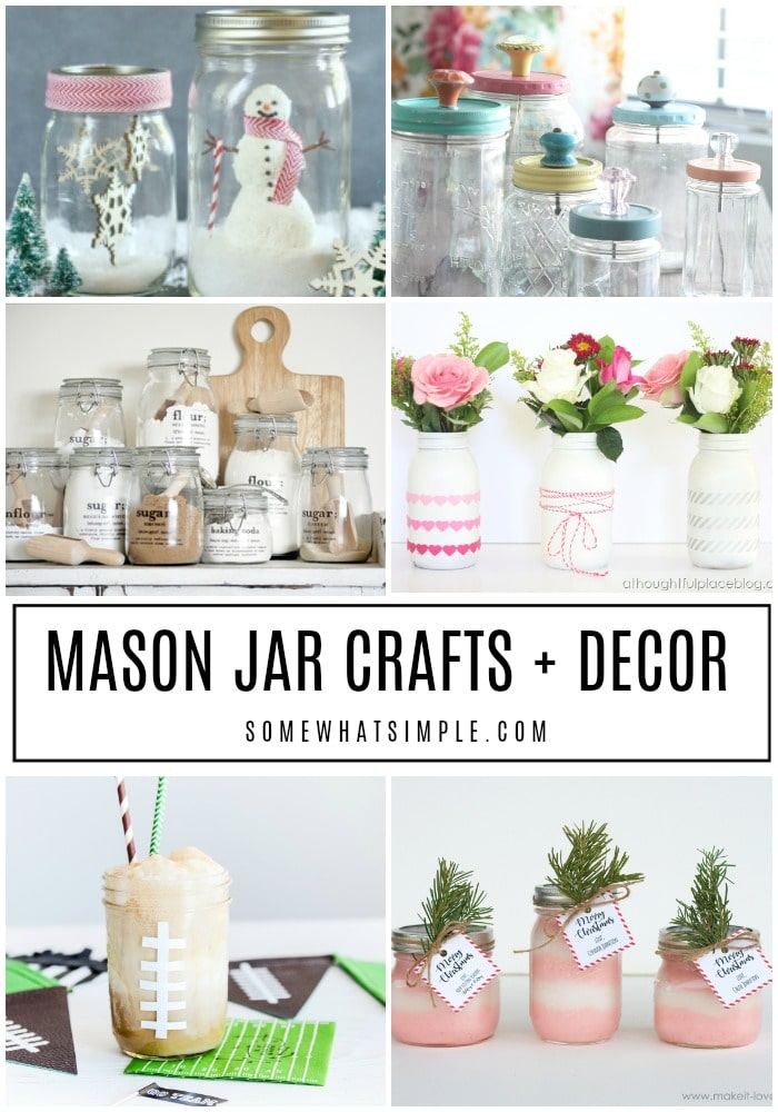 It's time to turn those empty mason jars into something practical and pretty! Here are 40 Mason Jar crafts, gifts and decor Ideas. #masonjarcrafts #masonjarcenterpieces #masonjardecorations #masonjardecorideas #masonjarideas via @somewhatsimple