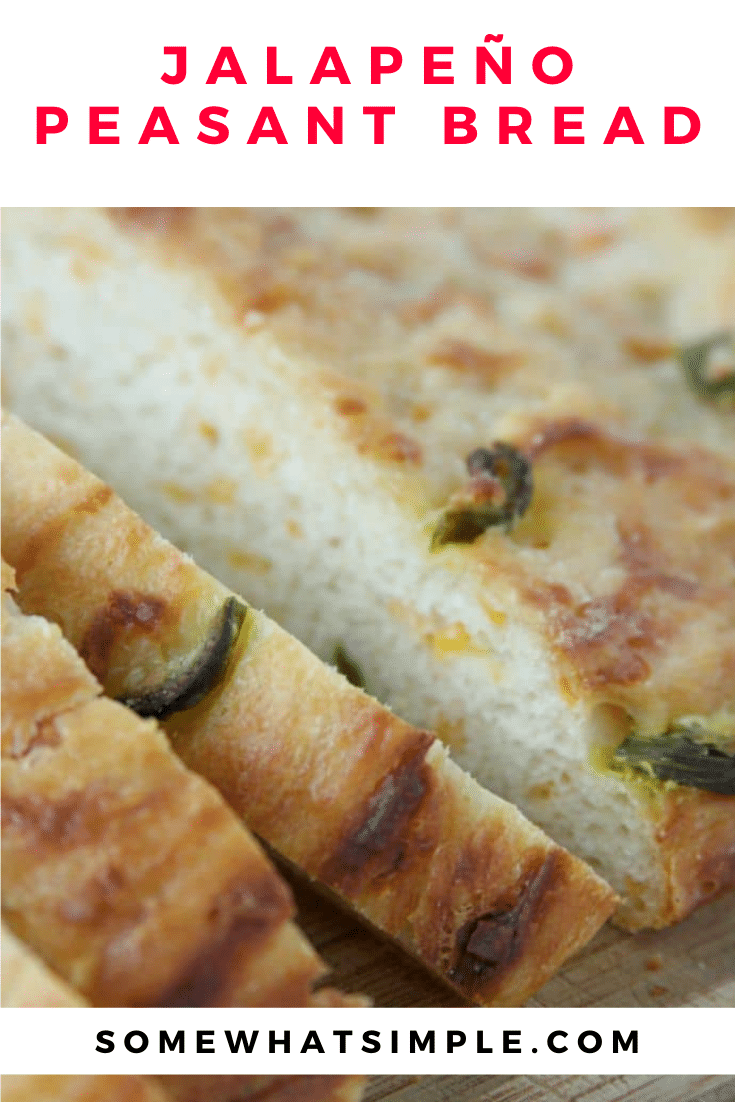 This French peasant bread recipe is loaded with the delicious flavor combination of jalapeños and cheddar cheese. Plus, this recipe doesn't require any kneading so it's super easy to make. via @somewhatsimple