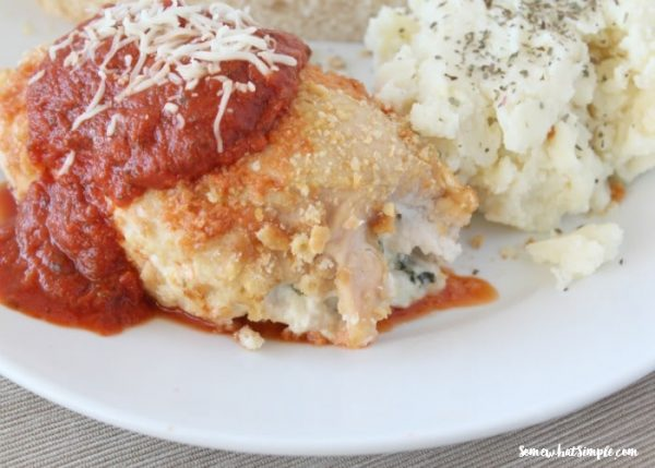 Easy Stuffed Chicken Parmesan Recipe | Somewhat Simple