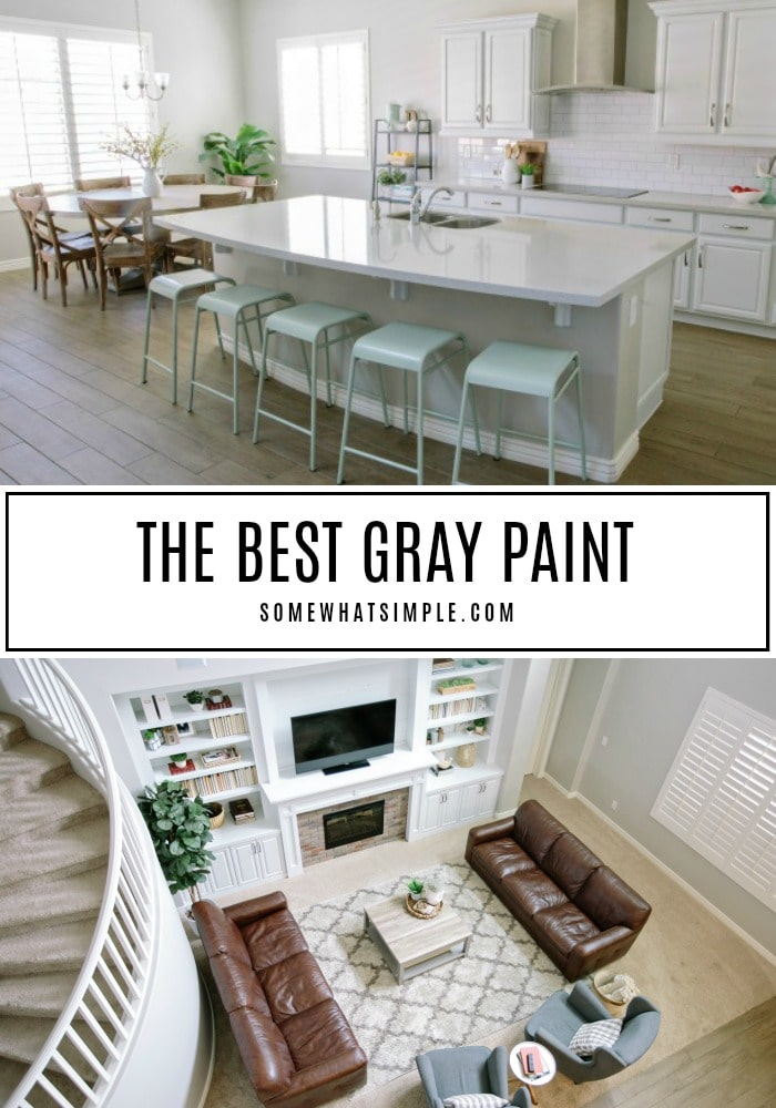 This is the best interior gray paint color you'll ever find. It's perfect for bedrooms, bathrooms, kitchens and family rooms.  If you're struggling to find a true gray paint without any undertones, this post is for you! #bestgraypaintforbedroom #bestgraypaintcolor #graypaintwithoutundertones #dunnedwardsminersdustgraypaint #graypaintcolorforlivingroom via @somewhatsimple