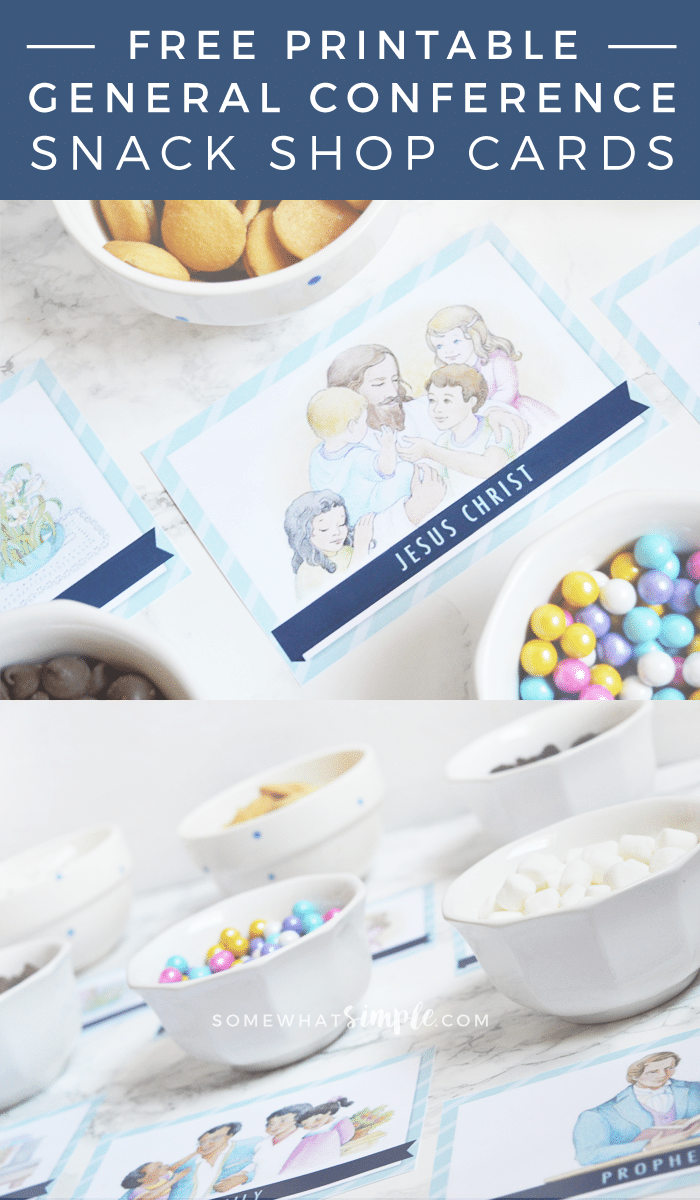"""A great way to help kids listen to General Conference! Download our Free General Conference Snack Shop Printables and start """"feasting"""" on the words of our church leaders! #lds #ldsconf #ldsprimary #generalconference #mormon #kidsactivities #freeprintable via @somewhatsimple"""