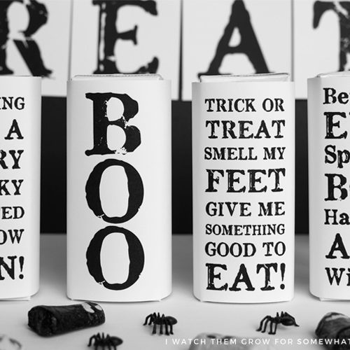 Free printable Halloween juice box covers, black and white or print on any colored paper!