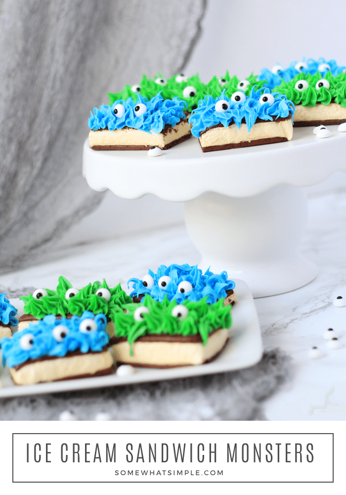 Ice Cream Sandwich Monsters Are Not Only Adorable, They Are Also SUPER Easy To Make! Get The Kids Involved In Making Their Own, Or Whip Up A Bunch For Your Next Monster Mash! #recipe #diy #icecream #icecreamsandwich #monster #monsterparty #dessert #simpledessert #easydessert #cute