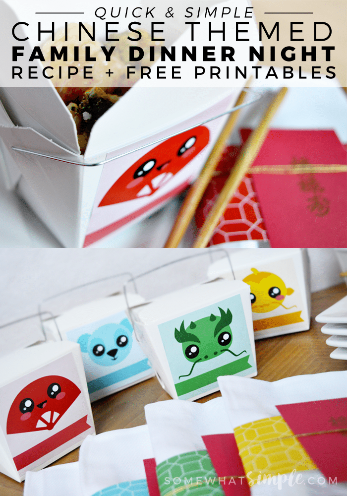quick and simple Chinese themed family dinner night recipe and free printables