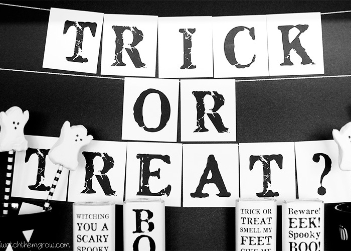 Free printable trick or treat Halloween party banner