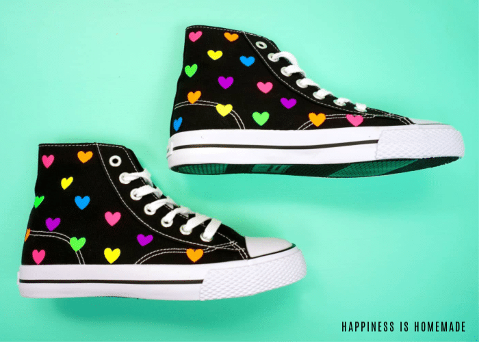 shoes with vinyl hearts