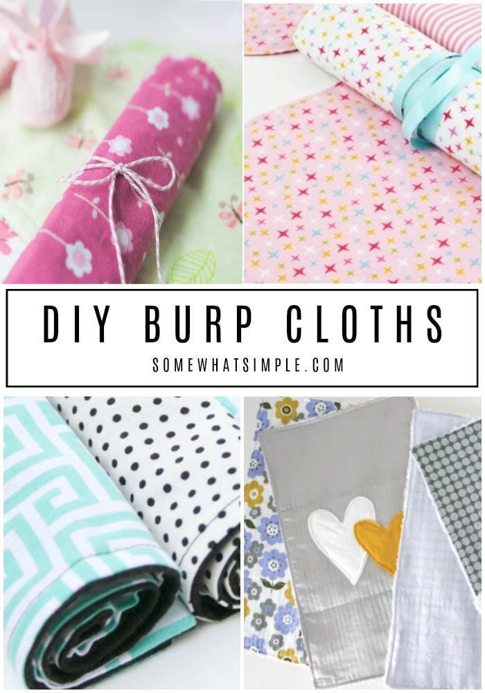 Making your own spit-up rag has never been easier... or cuter! Here are 5 DIY Burp Cloths that are perfectly simple and absolutely darling! #burp #DIY #baby #shower #gift via @somewhatsimple