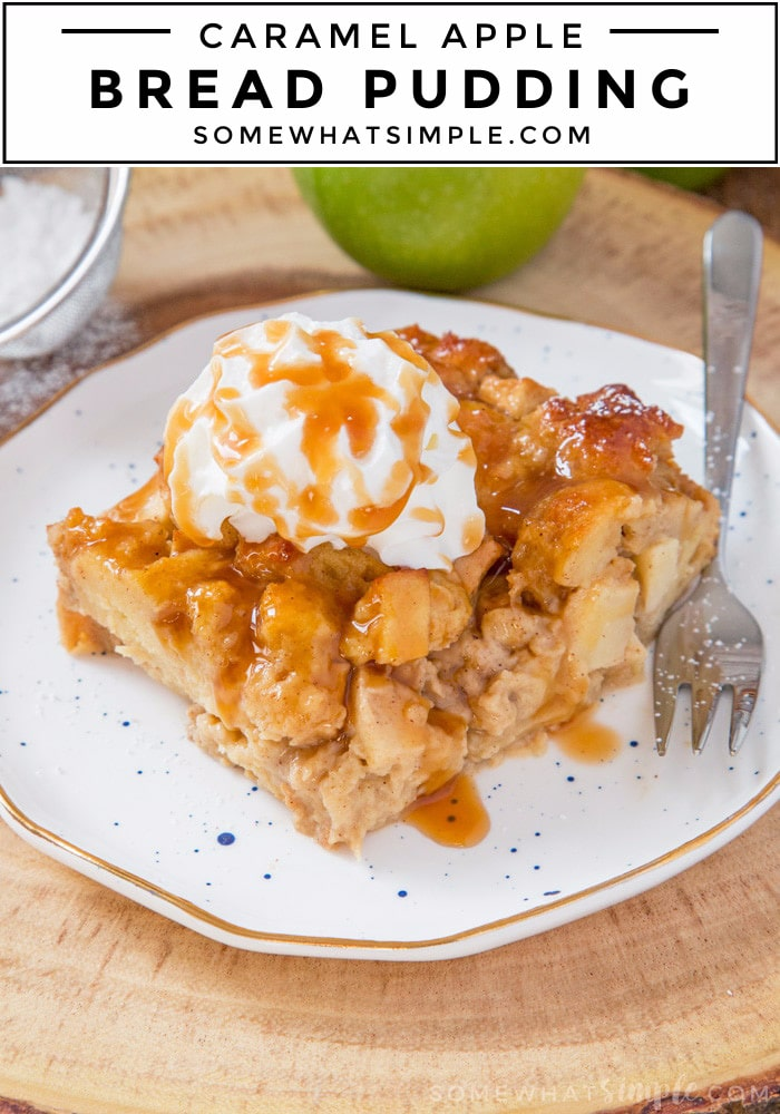 This Caramel Apple Bread Pudding is soft, spicy, filled with chunks of apples and sweet caramel sauce. It's the perfect flavour filled dessert to make this Fall!