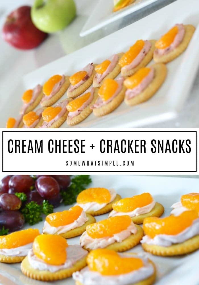 These cream cheese crackers are creamy, crunchy, and delicious! They take 5 minutes to prepare and they make the perfect after school snacks! #snacks #creamcheese #crackers #easysnacks via @somewhatsimple