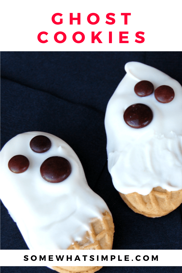 These delicious Nutter Butter ghost cookies take only minutes to prepare and taste fantastic! They're super fun to make and are the perfect baking activity for kids. These ghost cookies are the perfect, festive Halloween treat. via @somewhatsimple