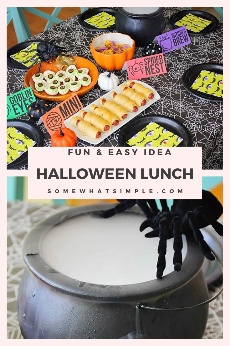 A Halloween lunch is a fun way to celebrate this spooky holiday with your kids! With fun food recipes to try there will be something everyone can enjoy. Plus, grab your free downloadable party food printables to make your table look its best! via @somewhatsimple