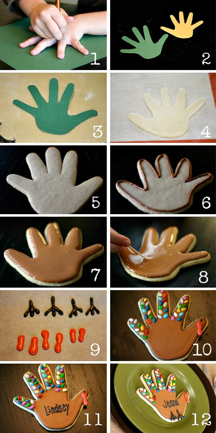 step by step pictures showing how to make turkey handprint sugar cookies in 12 easy steps