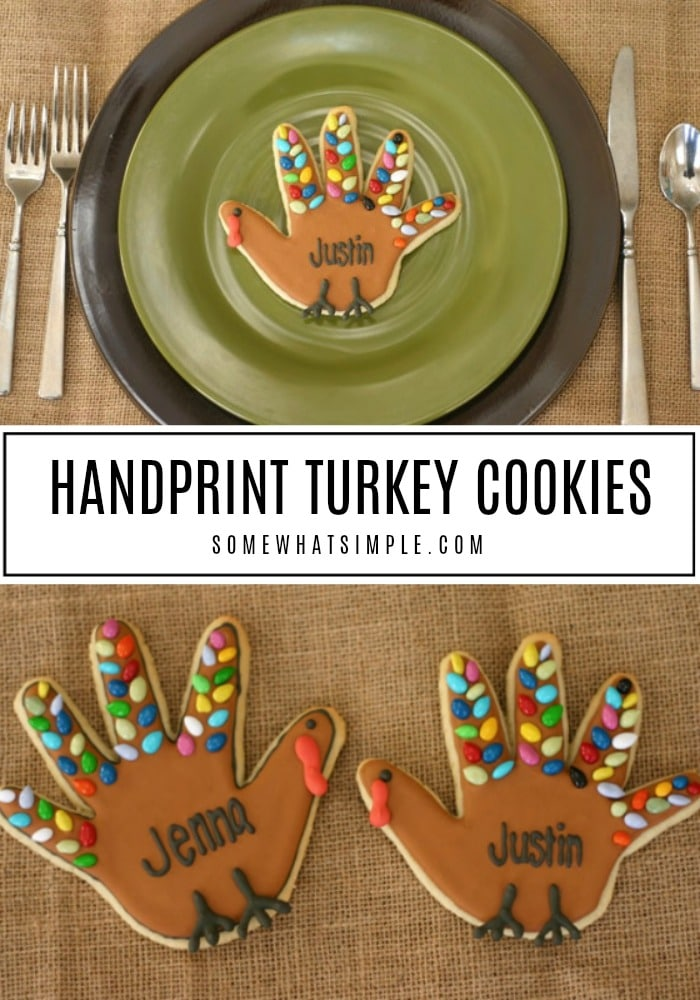 Turkey Handprint Cookies are a delightful Thanksgiving treat that your friends and family will surely GOBBLE up! #handprintcookies #turkeyhandprintcookies #howtomaketurkeyhandprintcookies #thanksgivingcookies #howtomakecookieslookliketurkeys via @somewhatsimple