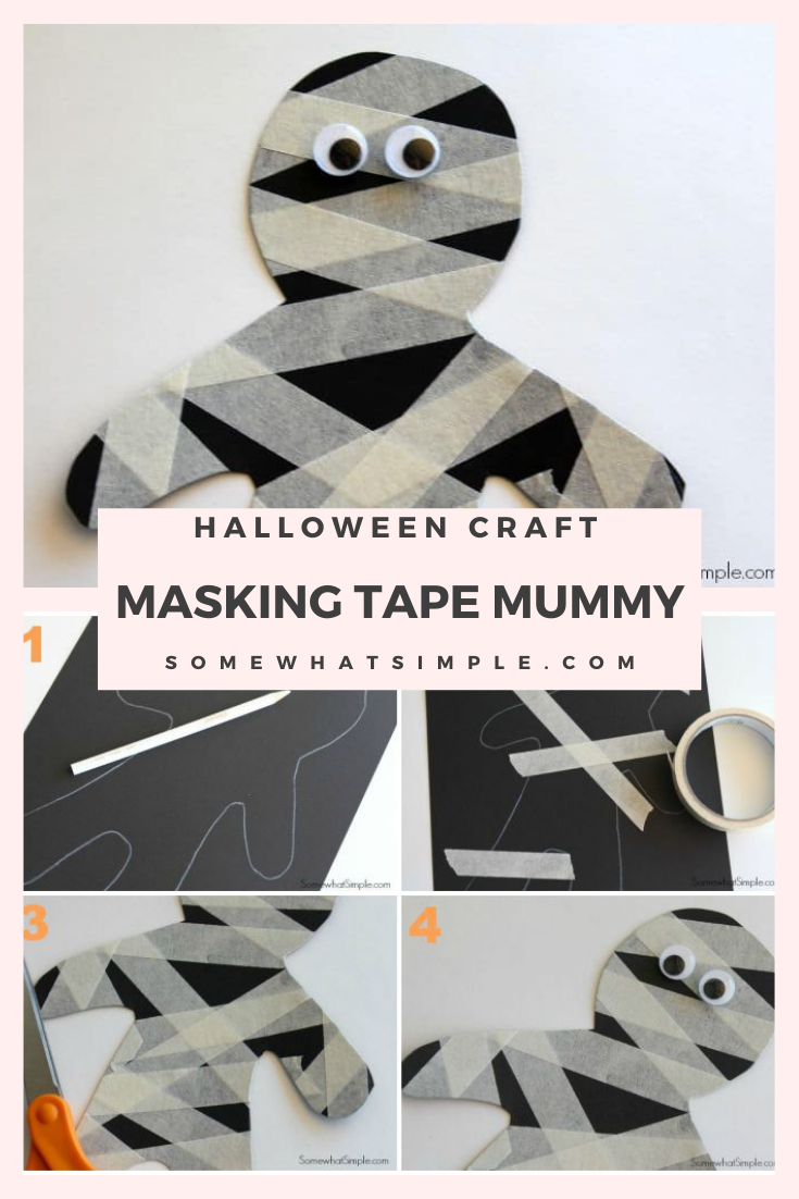 These masking tape mummies are a fun craft for kids to make. They're really easy to make and the kids have so much fun doing it. It's perfect for a school party, a Halloween party or just a fun activity to do in the afternoon. via @somewhatsimple