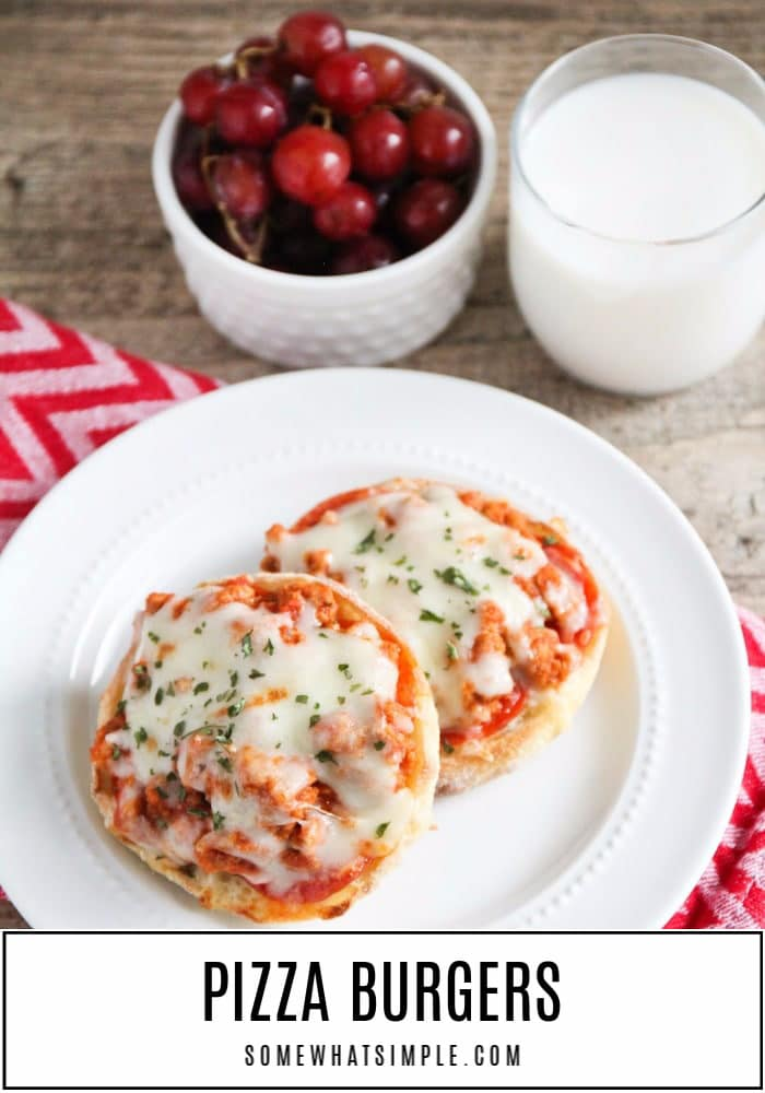 Deliciously messy pizza burgers have all the flavors of your favorite pizza.  Served on classic English muffins, loaded with your favorite pizza toppings and toasted to perfection! #pizzaburgers #pizzaburgerrecipe #howtomakepizzaburgers #easydinneridea #englishmuffinpizzas via @somewhatsimple