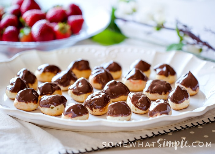 Cream Puffs are an impressive, yet easy dessert. Perfect for weddings, baby showers, and bridal showers. Fill with chocolate, vanilla, or strawberry cream.