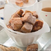 Crisp and sweet French Toast Bites rolled in Apple spice sugar and dunked in apple pie sauce! The perfect Fall treat!