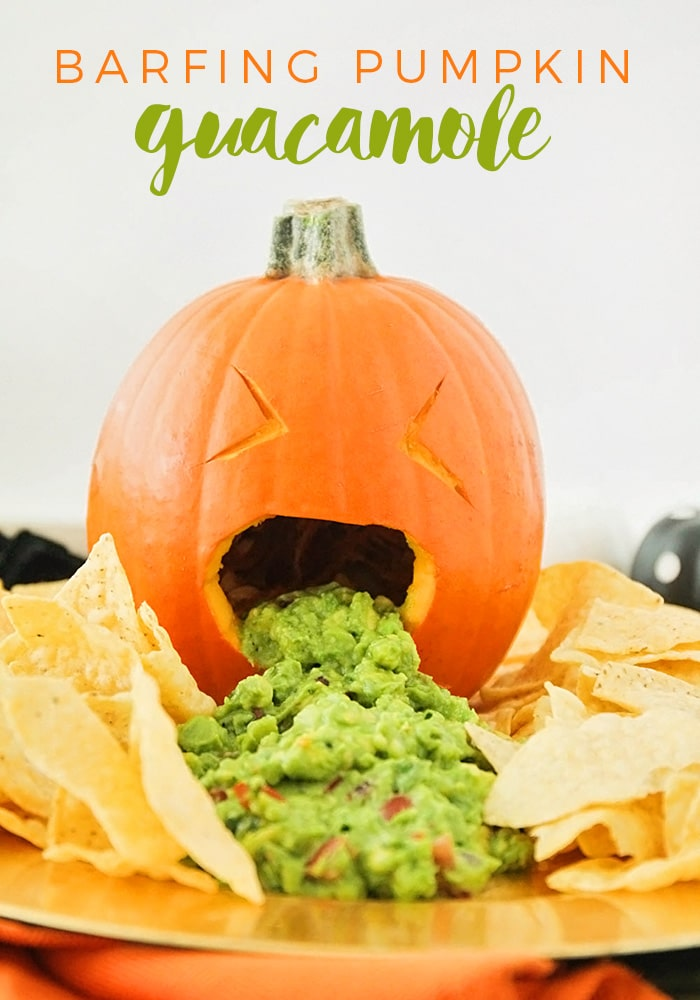 Get some good laughs at your next Halloween party with this barfing pumpkin guacamole!