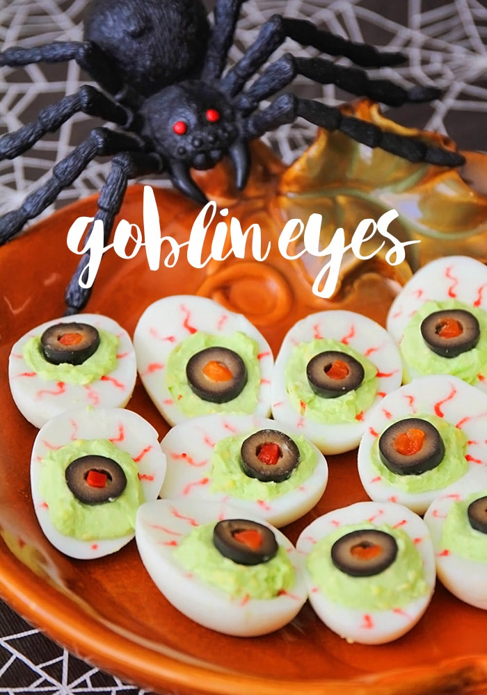 Goblin Eyes are a festive food for a Halloween party that taste great too! via @somewhatsimple