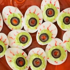 goblin eye halloween deviled eggs