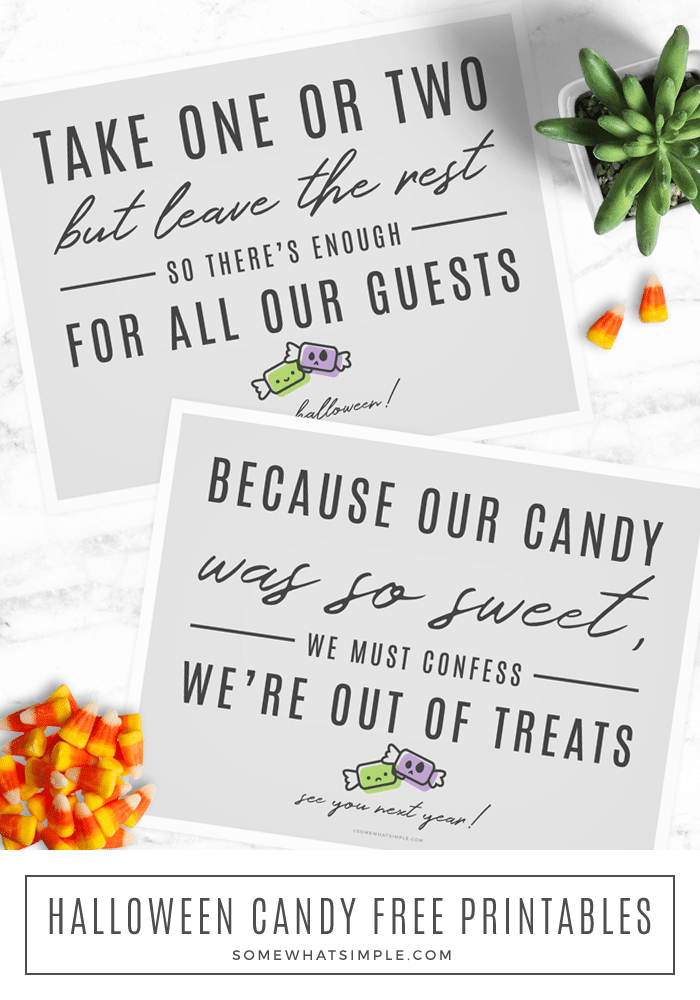 two free printable halloween candy signs