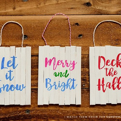 See how to make these cute mini pallet sign Christmas ornaments! You can do any words and any colors you want!