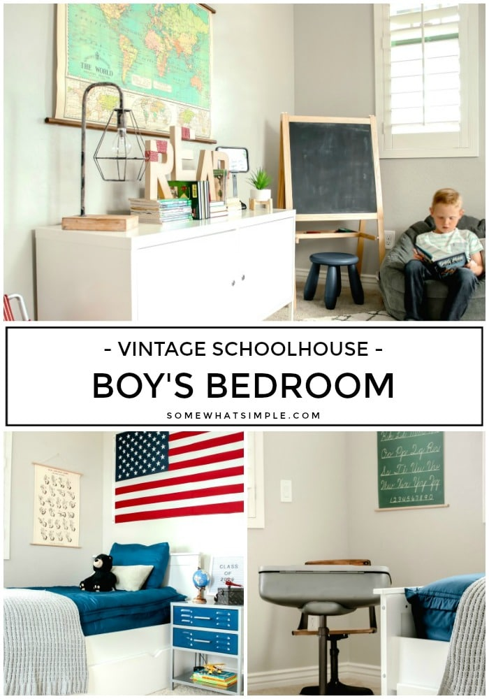 From a world map and American flag to a vintage desk and schoolhouse memorabilia, Mason's vintage bedroom is the perfect place for him to let loose and showcase his creative personality! #vintagebedroom #boysbedroom #vintageschool #vintageschoolhouse #boysroom via @somewhatsimple