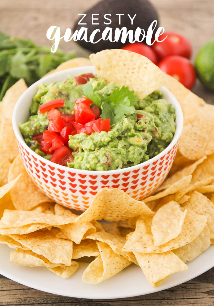 This delicious and zesty guacamole is made with fresh ingredients and takes just a few minutes to make. Perfect for a Mole Day party or just a little late night snacking! #zestyguacamolerecipe #moledayfoodidea #moledaypartyfood #easymoledayfoodidea #moledayguacamole via @somewhatsimple