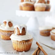 cinnamon roll cupcakes on the counter