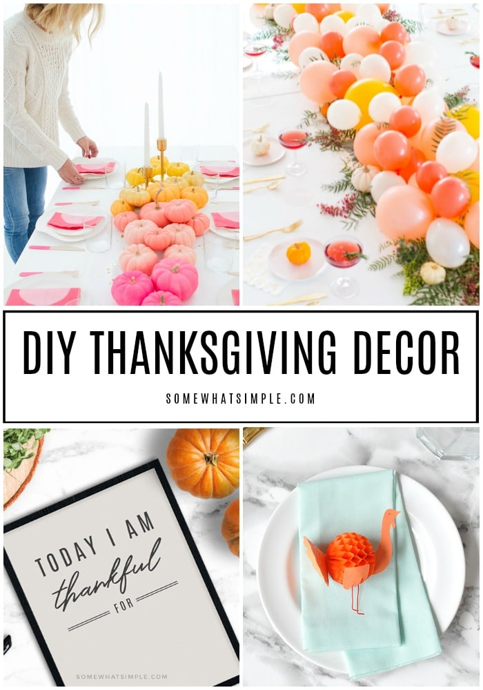 Collage of 4 different DIY Thanksgiving Decor Ideas, including centerpieces, mantles, place settings and more