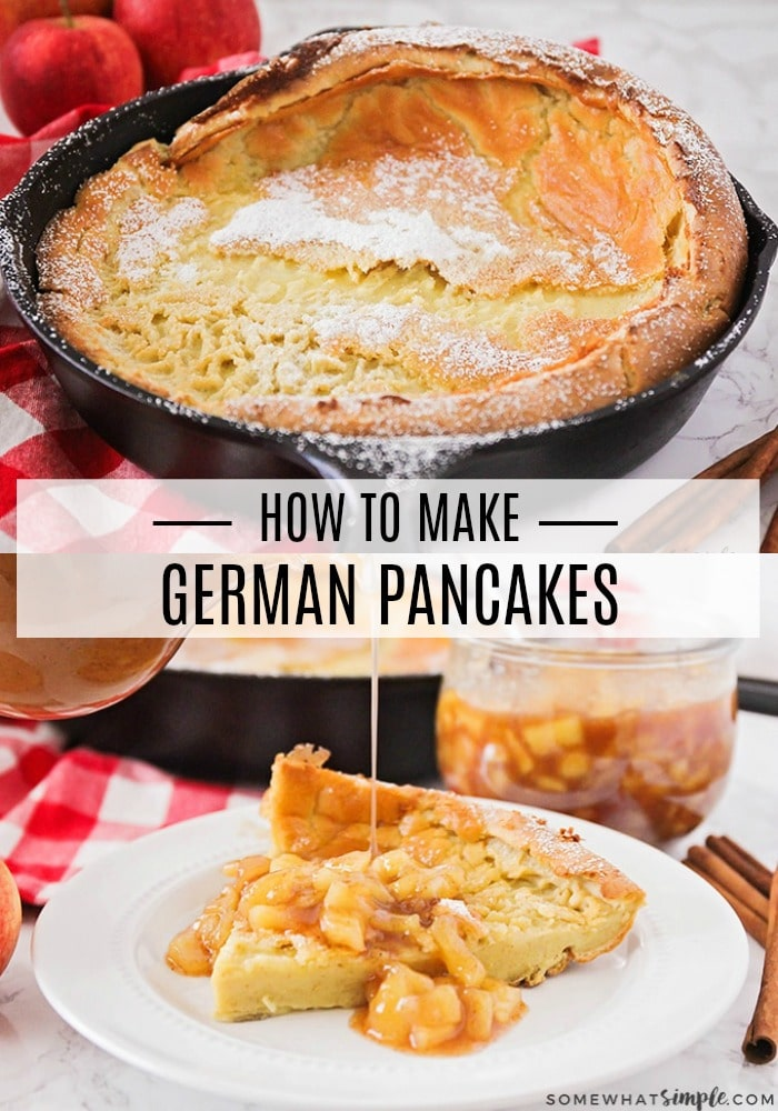 German Pancakes are light and fluffy and taste delicious! They are made with just a few ingredients you probably have on hand and they couldn't be any easier to make! via @somewhatsimple