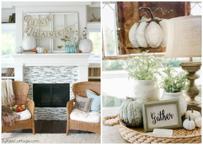 neutral colored thanksgiving decor - thanksgiving mantles and coffee tables