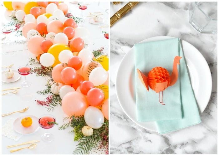 Bright colored thanksgiving decorations - balloons on the table turkey place settings